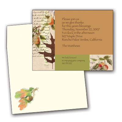 Autumn Reminiscence - Colorful and fun premium quality 80# cardstock INCLUDES ENVELOPE WITH COORDINATING DESIGN!Easy to print on your inkjet/laser printer (ORDER BLANK), or we can print for you (ORDER PERSONALIZED).DON`T FORGET OUR COORDINATING DESIGNER LASER PAPER.